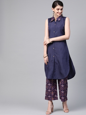 Women's blue Khadi Print Straight Polysilk Kurta With Palazzo