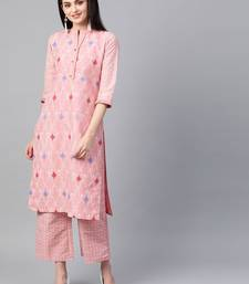 Women's pink Khadi Print Straight Polysilk Kurta With Palazzo