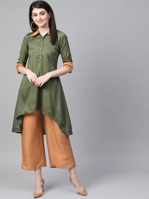 Women's green Solid Straight Polysilk Kurta