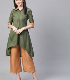 Women's green Solid Straight Polysilk Kurta