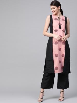 Women's pink Khadi Print Straight Polysilk Kurta