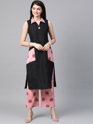 Women's black Solid Straight Polysilk Kurta With Palazzo