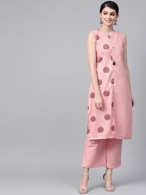 Women's pink Khadi Print Straight Polysilk Kurta With Palazzo