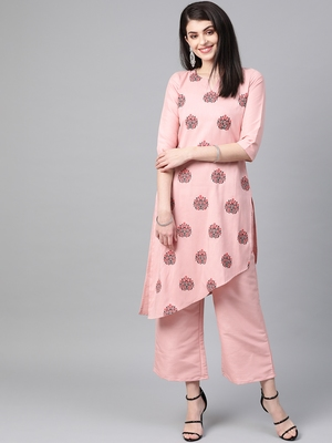 Women's pink Khadi Print Flared Polysilk Kurta With Palazzo