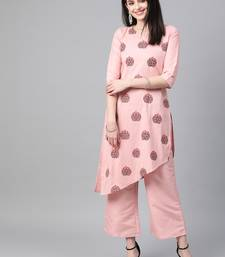 Women's pink Khadi Print Flared Polysilk Kurta With Palazzo