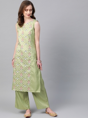 Women's green Khadi Print Straight Polysilk Kurta