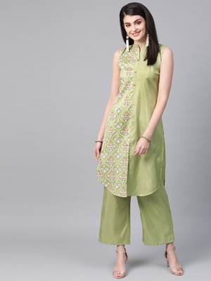 Women's green Khadi Print Straight Polysilk Kurta