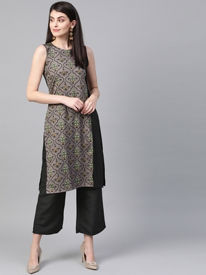 Women's black Khadi Print Straight Polysilk Kurta With Palazzo