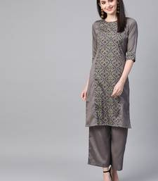 Women's grey Khadi Print Straight Polysilk Kurta