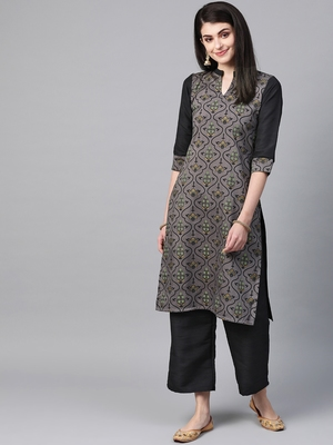 Women's grey Khadi Print Straight Polysilk Kurta With Palazzo