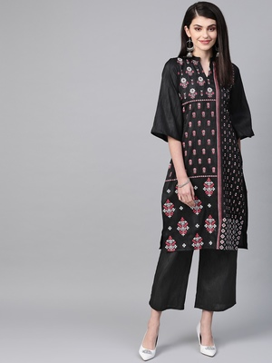 Women's black Khadi Print Straight Polysilk Kurta With Palazzo
