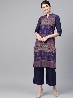 Women's blue Khadi Print Straight Polysilk Kurta With Palazzo