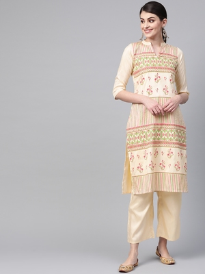 Women's cream Khadi Print Straight Polysilk Kurta With Palazzo