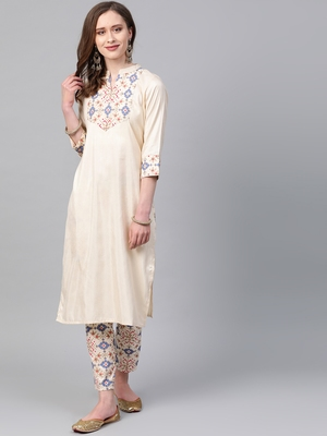 Women's cream Foil Print Straight Polysilk Kurta With Pant