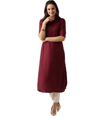 maroon rayon plain long-kurtis For Women