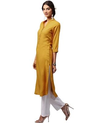 yellow rayon plain long-kurtis For Women