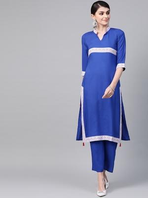 Women's blue Solid Straight Rayon Kurta