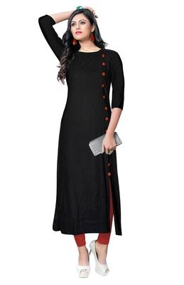 black rayon plain long-kurtis For Women