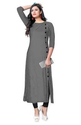 grey rayon plain long-kurtis For Women