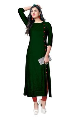 green rayon plain long-kurtis For Women