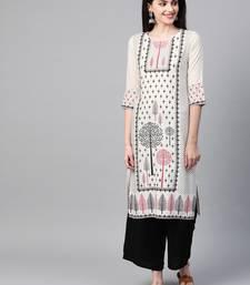 Women's cream Khadi Print Straight Rayon Kurta