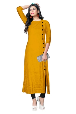 yellow rayon plain long-kurtis For Women