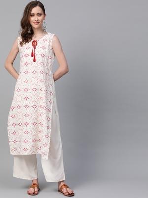 Women's cream Khadi Print Straight Rayon Kurta With Palazzo