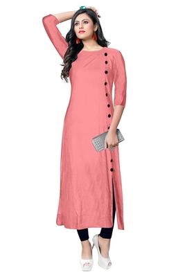 pink rayon plain long-kurtis For Women