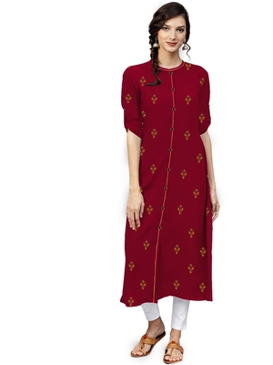 maroon rayon embroidered long-kurtis For Women