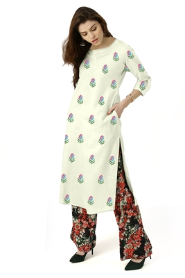 off-white rayon embroidered long-kurtis For Women