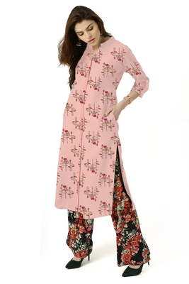 pink cotton printed long-kurtis For Women
