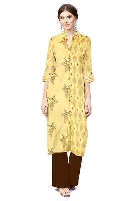 yellow cotton printed long-kurtis For Women