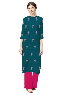 light-sea-green rayon embroidered long-kurtis For Women