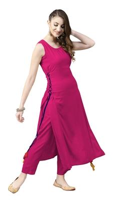 rani-pink rayon plain long-kurtis For Women
