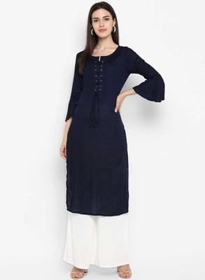 blue rayon plain long-kurtis For Women