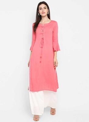light-pink rayon plain long-kurtis For Women