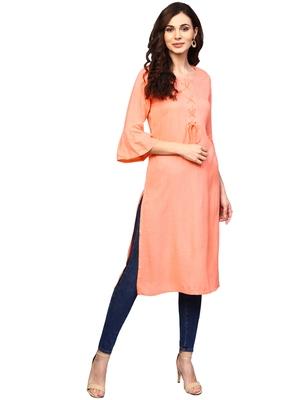 orange rayon plain long-kurtis For Women