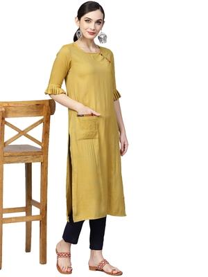 yellow cotton plain long-kurtis For Women