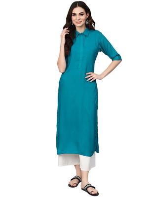 light-sea-green rayon plain long-kurtis For Women