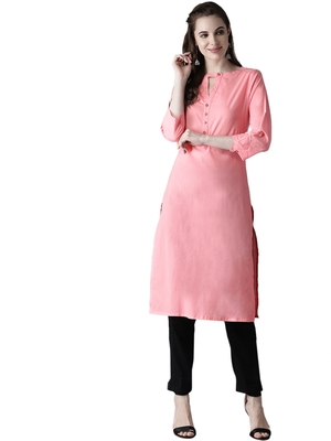 pink rayon plain long-kurtis For Women