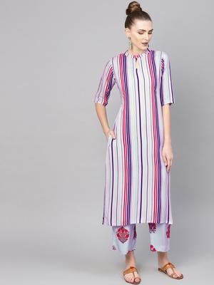 purple rayon printed long-kurtis For Women