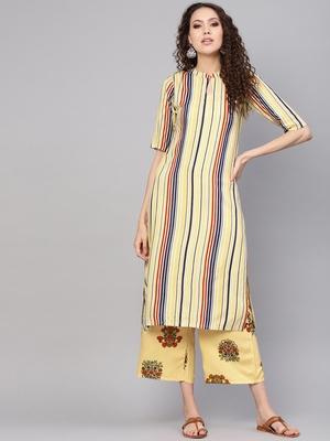 yellow rayon printed long-kurtis For Women