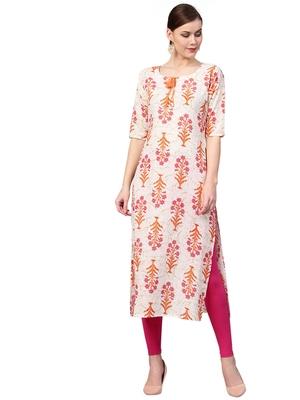 rani-pink rayon printed long-kurtis For Women