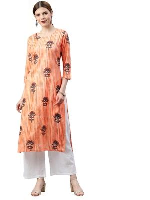 orange rayon printed long-kurtis For Women