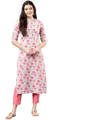 rani-pink rayon printed long-kurtis For Women