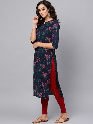 blue rayon printed long-kurtis For Women