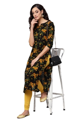 yellow rayon printed long-kurtis For Women
