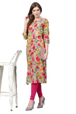 light-pink rayon printed long-kurtis For Women