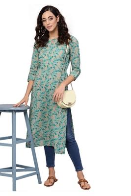 green rayon printed long-kurtis For Women