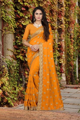 orange embroidered polyester saree with blouse
